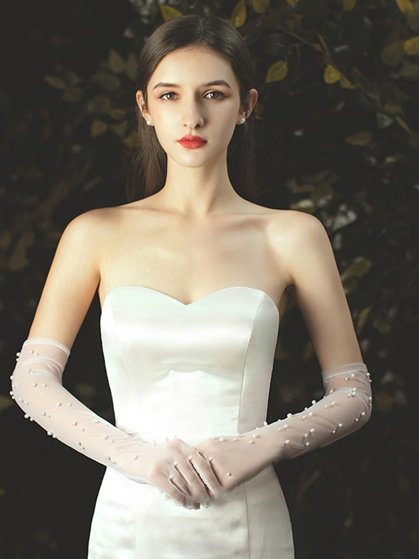 Fancy Tulle With Pearl Opera Length Wedding Gloves