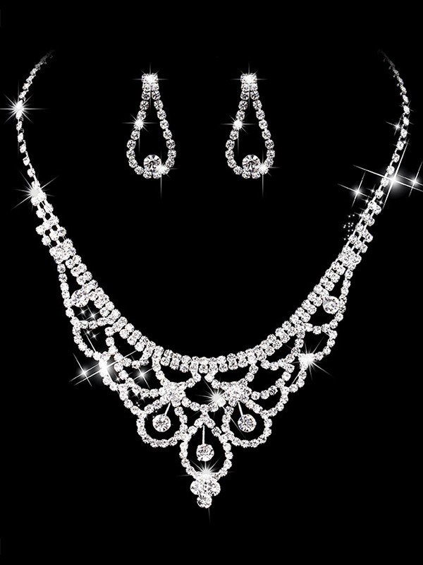 Glamorous Copper With Rhinestone Jewelry Sets For Ladies