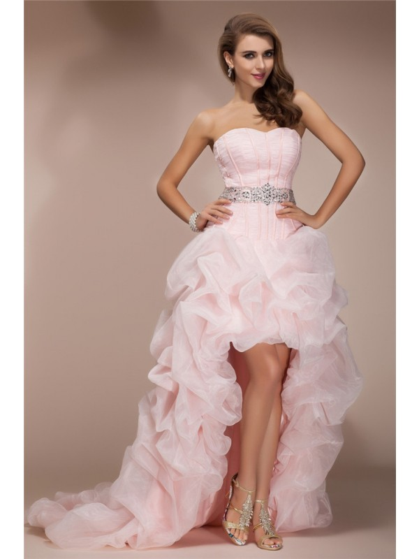 A-Line Princess Sweetheart High Low Beading Organza Dress