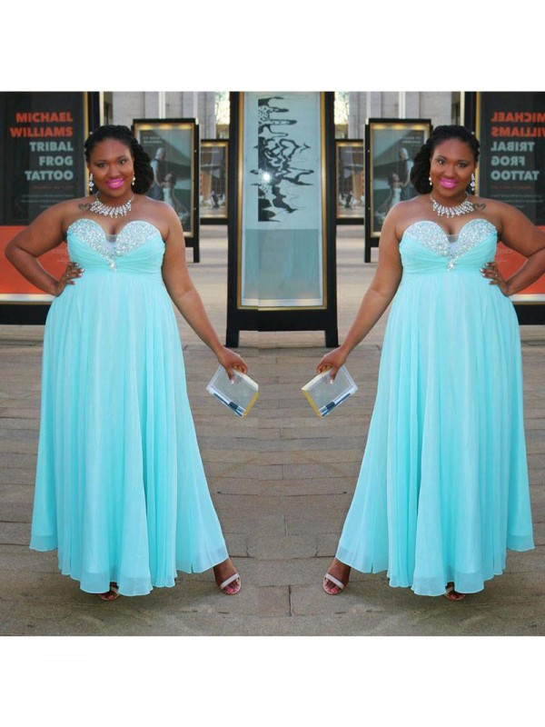 A-Line Sweetheart With Beading Floor-Length Chiffon Plus Size Dress