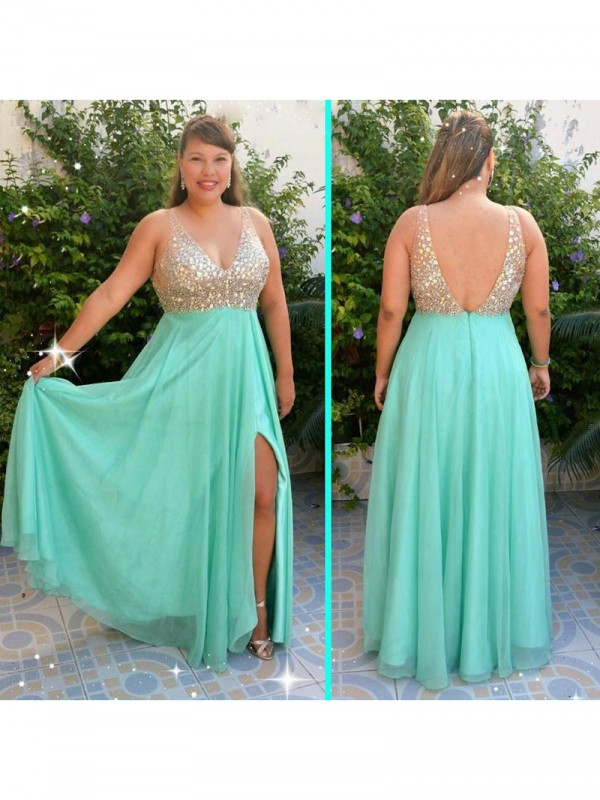 A-Line V-neck With Beading Floor-Length Chiffon Plus Size Dress