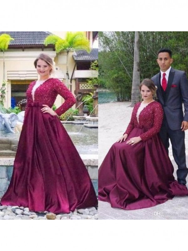 A-Line V-neck Long Sleeves With Beading Sweep/Brush Train Satin Plus Size Dress