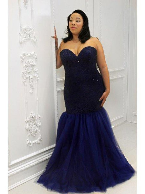 Mermaid Sweetheart Sequin Floor-Length Tulle Plus Size Dress