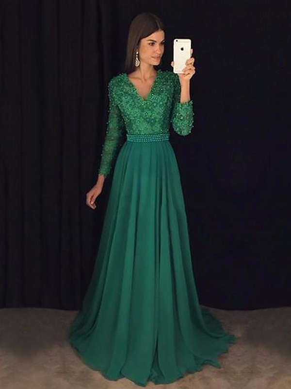 A-Line V-Neck Long Sleeves Sweep/Brush Train With Lace Chiffon Dress