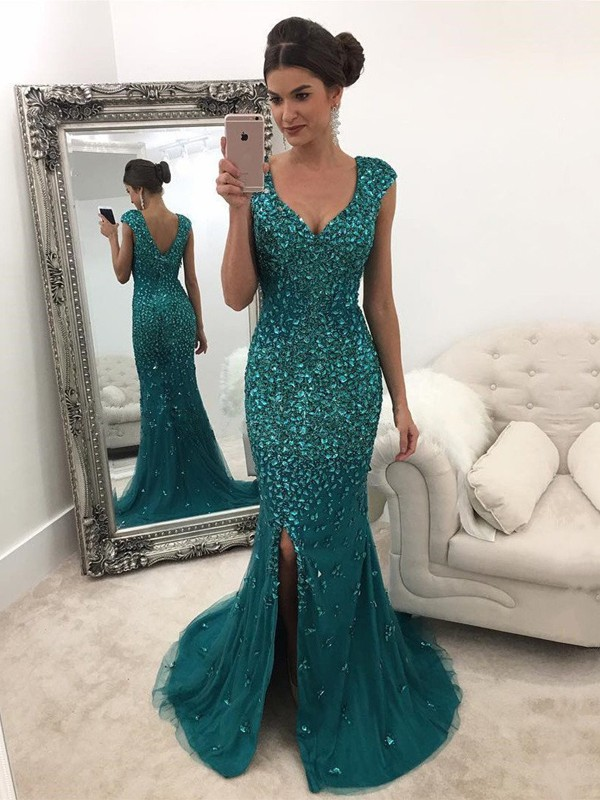 A-Line V-Neck Sweep/Brush Train With Sequin Tulle Dress