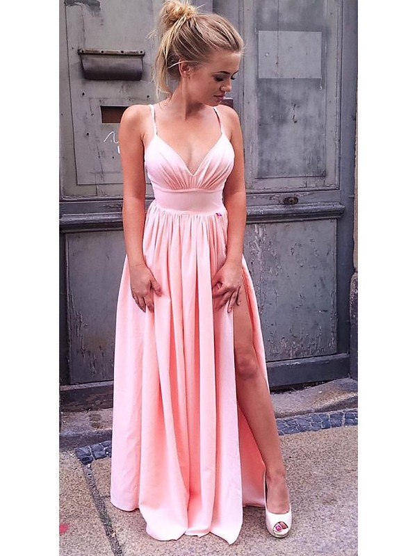 A-Line Straps Floor-Length With Ruched Chiffon Dress