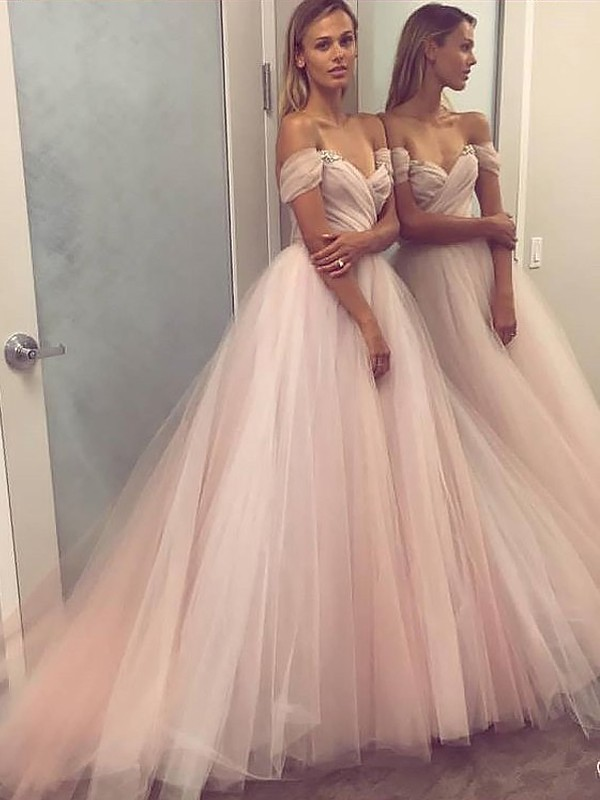 Vibrant Stylist Princess Style Off-the-Shoulder Tulle With Beading Sweep/Brush Train Dress