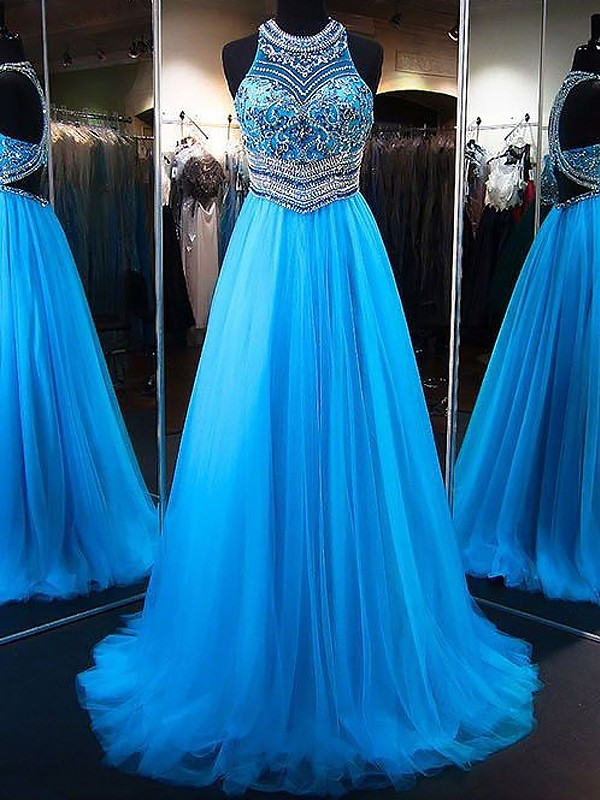 A-Line Jewel Sweep/Brush Train With Beading Tulle Dress