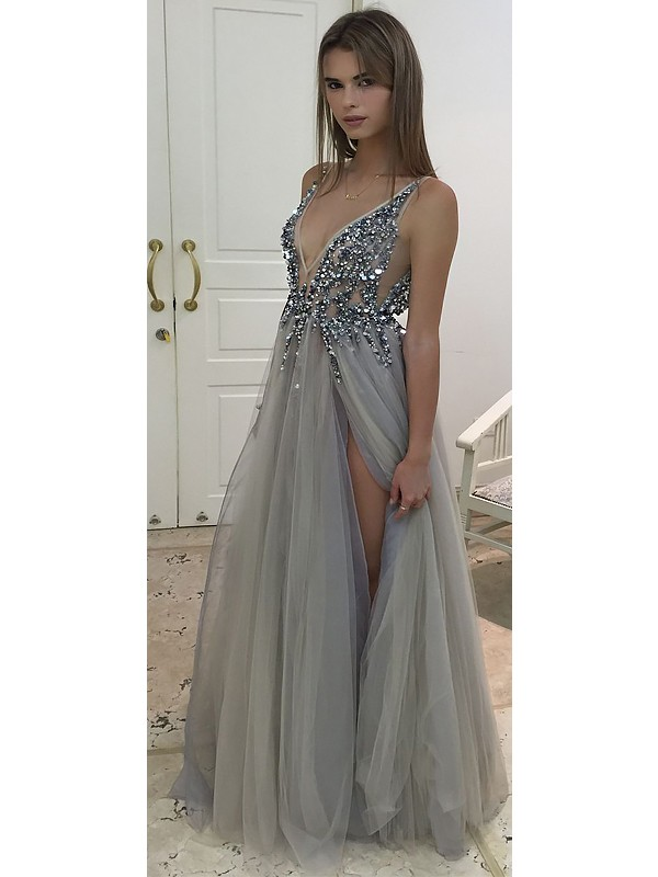 A-Line V-Neck Floor-Length With Beading Tulle Dress