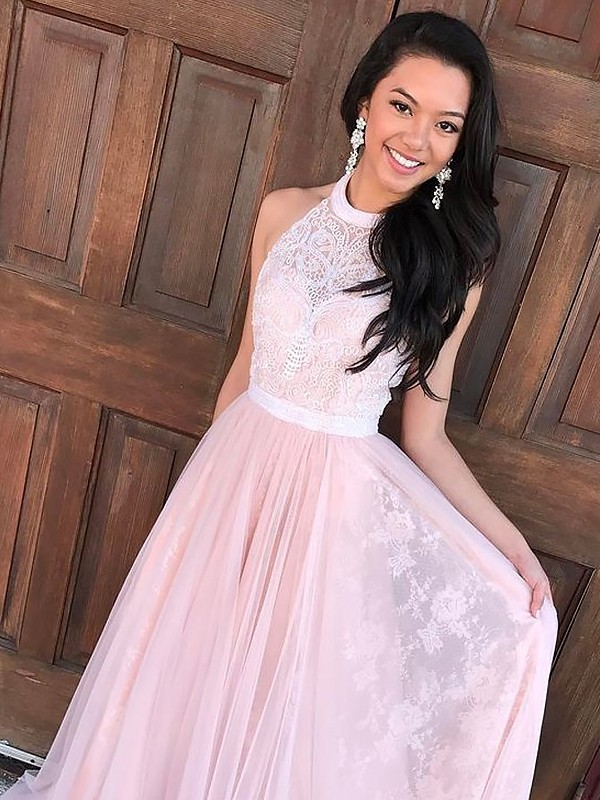 Lovely A-lineHalter Tulle With Lace Sweep/Brush Train Dress