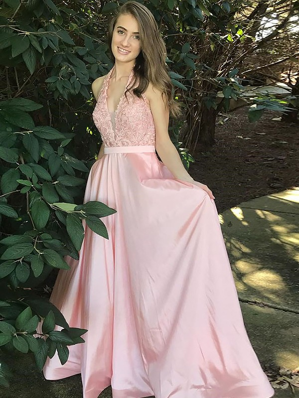 A-Line V-Neck Floor-Length With Lace Satin Dress