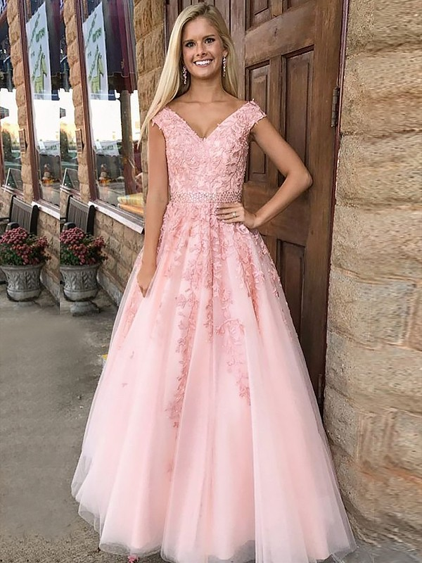 A-Line V-Neck Floor-Length With Applique Tulle Dress