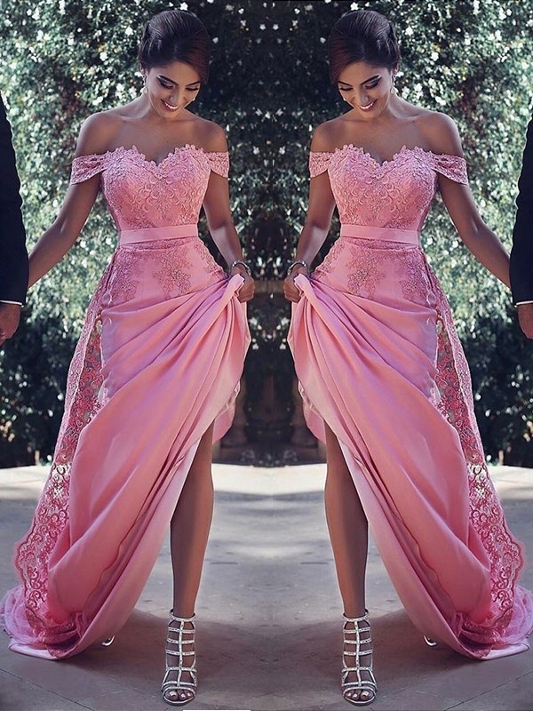 Sheath Off-the-Shoulder Sweep/Brush Train With Lace Silk like Satin Dress