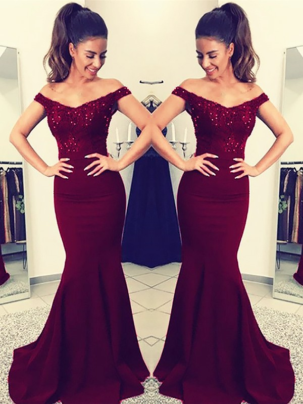 Pleasant Emphasis Mermaid Style Off-the-Shoulder Sweep/Brush Train With Lace Satin Dress