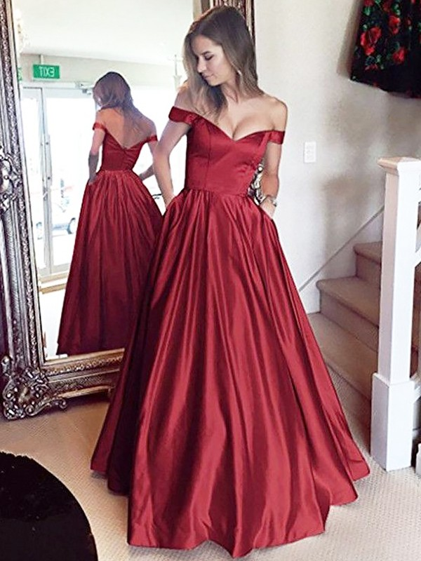 A-Line Off-the-Shoulder Floor-Length Satin With Beading Dress