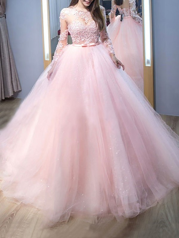 Ball Gown Jewel Long Sleeves Sweep/Brush Train With Lace Tulle Dress