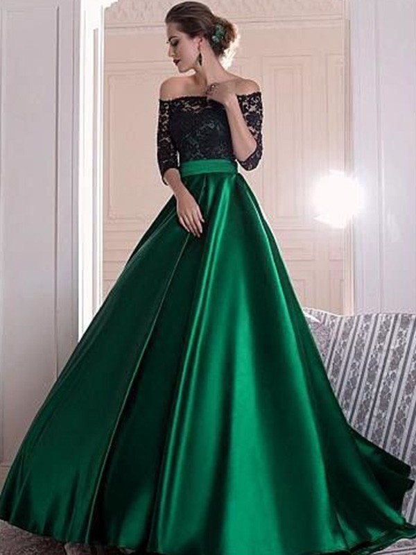 A-Line Off-the-Shoulder 3/4 Sleeves Lace With Ruched Sweep/Brush Train Satin Dress