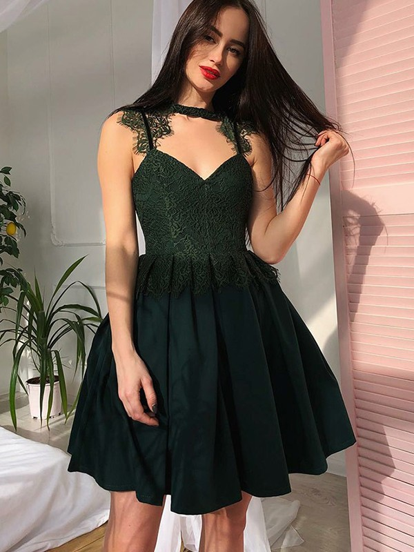 A-Line V-Neck Lace Satin With Ruched Short/Mini Dress