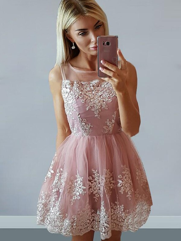 A-Line Tulle Scoop With Applique Short/Mini Dress