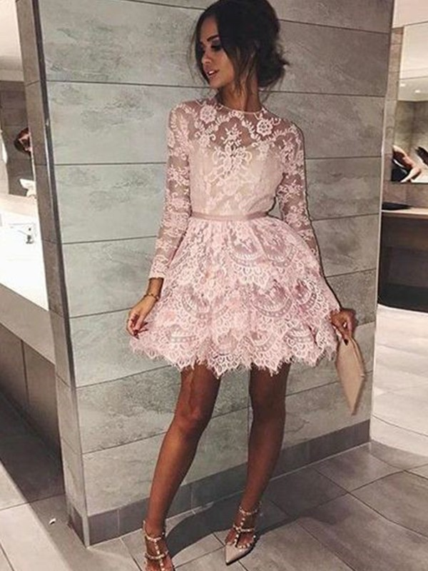 A-Line Bateau Long Sleeves With Beading Lace Short/Mini Dress
