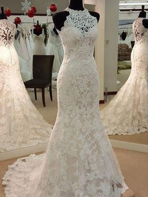 Sheath Scoop Sweep/Brush Train With Applique Lace Wedding Dress