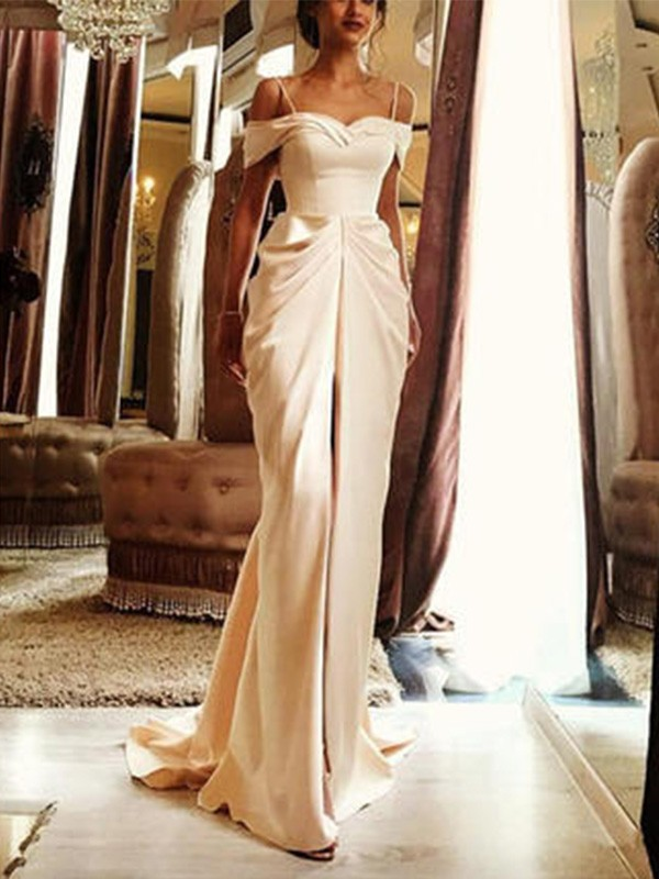 Romantic Vibes Sheath Style Sweep/Brush Train Off-the-Shoulder With Ruffles Silk like Satin Wedding Dress