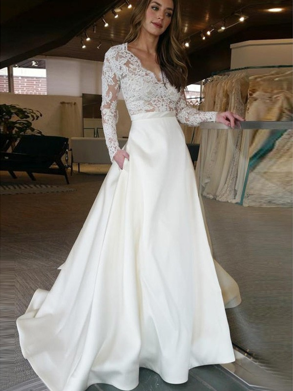 A-Line Long Sleeves Sweep/Brush Train V-neck With Applique Satin Wedding Dress