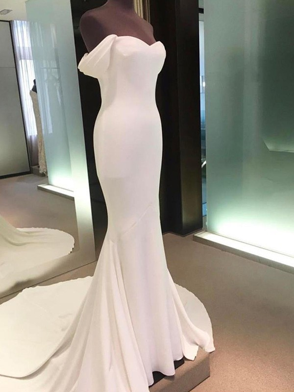 Easily Adored Sheath Style Off-the-Shoulder Court Train Spandex Wedding Dress