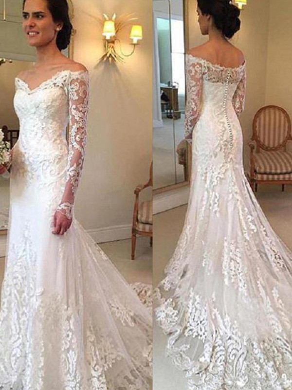 Mermaid Off-the-Shoulder Court Train Long Sleeves With Applique Lace Wedding Dress