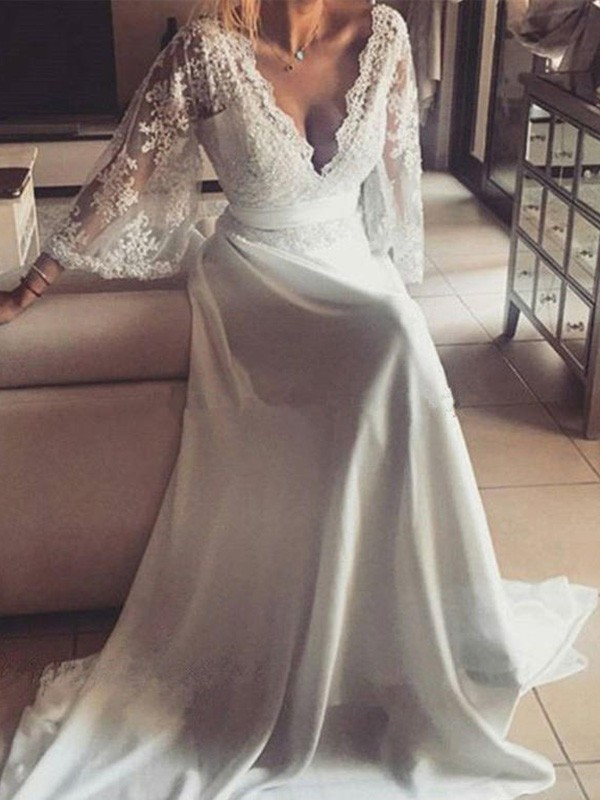 A-Line V-neck Long Sleeves With Sash/Ribbon/Belt Court Train Lace Wedding Dress