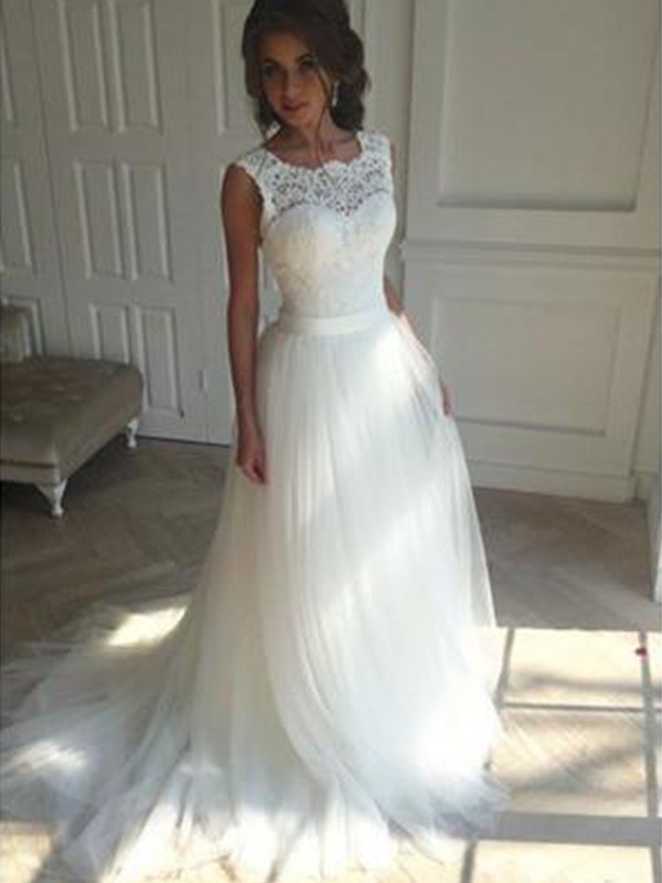 Lovely A-lineSquare Court Train Tulle Wedding Dress