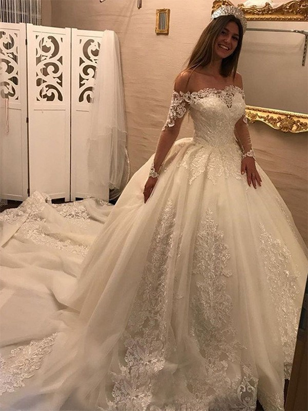 Ball Gown Off-the-Shoulder Long Sleeves Cathedral Train With Applique Tulle Wedding Dress