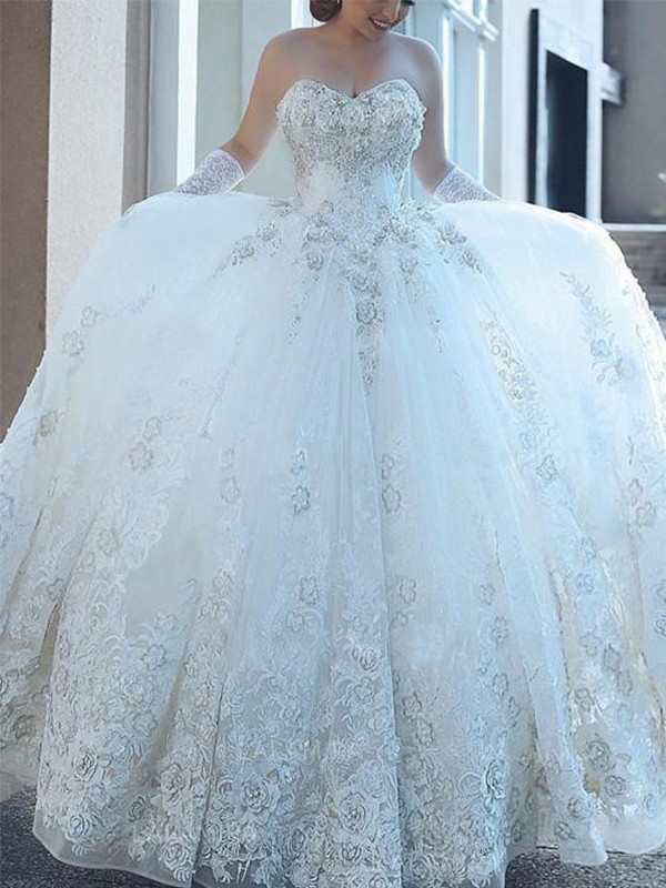Ball Gown Sweetheart With Applique Tulle Cathedral Train Wedding Dress