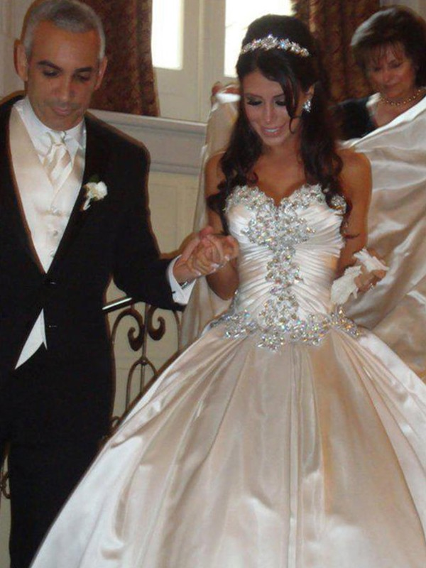 Ball Gown Satin Sweetheart With Ruffles Cathedral Train Wedding Dress