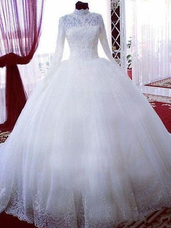 Ball Gown With Lace Tulle High Neck Long Sleeves Chapel Train Wedding Dress