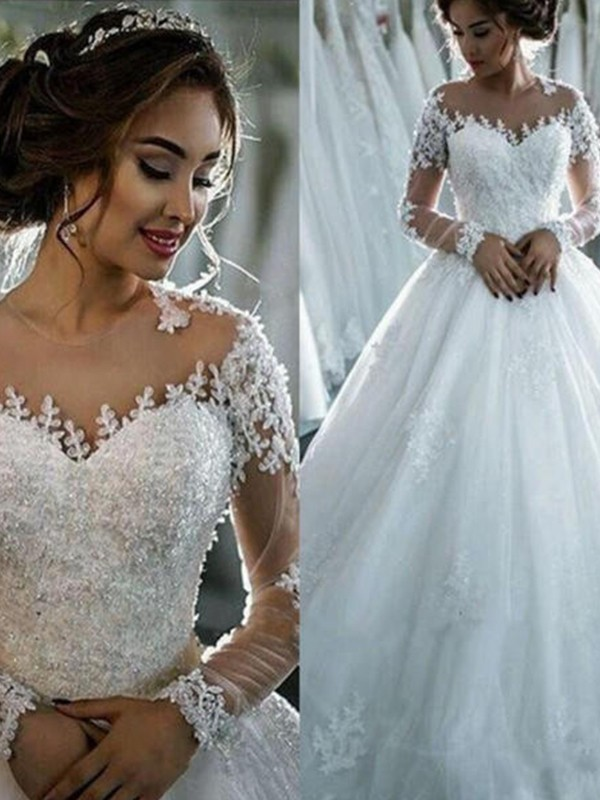 First Impressions Ball Gown With Applique Tulle Scoop Court Train Wedding Dress