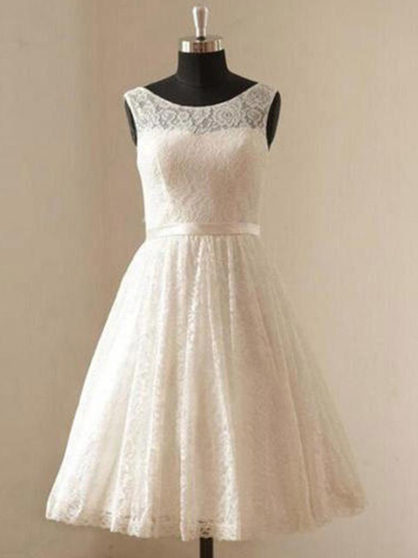 A-Line Scoop Lace With Sash/Ribbon/Belt Knee-Length Wedding Dress