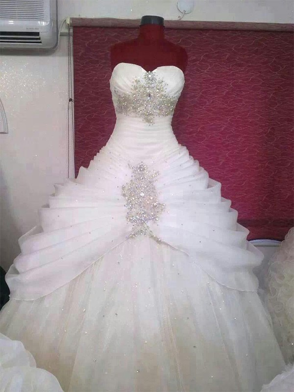 Ball Gown Tulle Sweetheart With Ruffles Floor-Length Wedding Dress