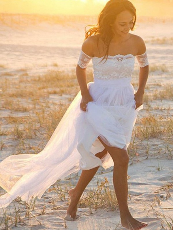 A-Line Chiffon Off-the-Shoulder With Lace Floor-Length Wedding Dress