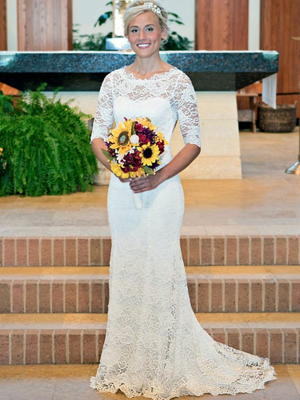 Sheath Lace With Ruched Scoop 1/2 Sleeves Sweep/Brush Train Wedding Dress