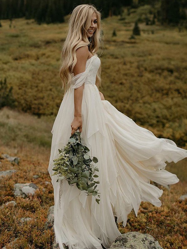 A-Line Chiffon With Ruched Off-the-Shoulder Floor-Length Wedding Dress