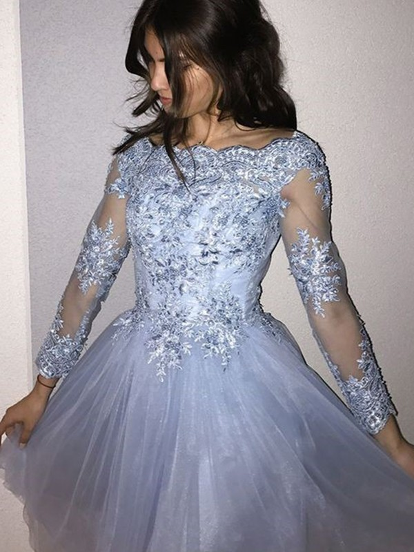 A-Line Long Sleeves Off-the-Shoulder Tulle With Applique Short/Mini Dress
