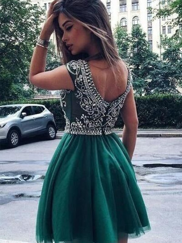 Lovely A-lineScoop Tulle With Beading Short/Mini Dress
