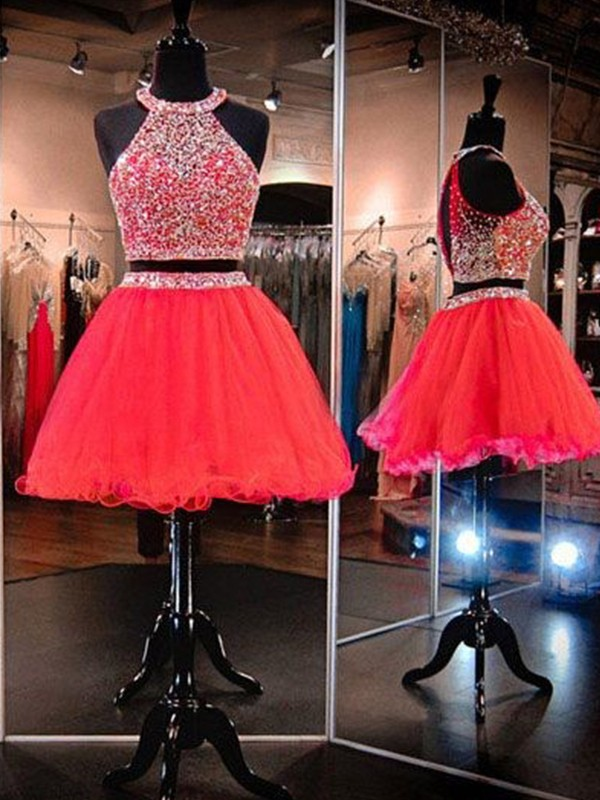 Lovely A-lineHalter Tulle With Beading Short/Mini Two Piece Dress