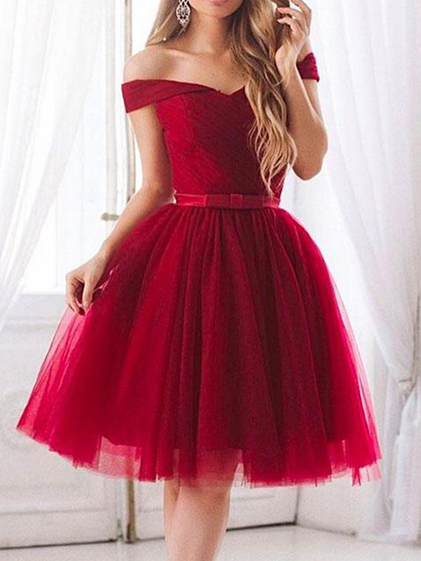 A-Line Tulle With Ruffles Off-the-Shoulder Knee-Length Dress