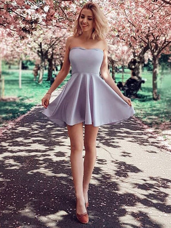 A-Line With Ruffles Strapless Satin Short/Mini Dress