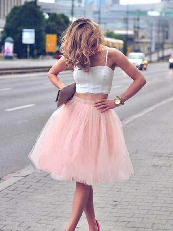 A-Line Tulle With Pleats Spaghetti Straps Knee-Length Two Piece Dress