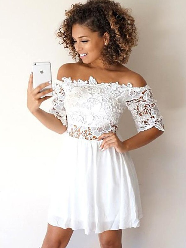 A-Line Chiffon With Applique Off-the-Shoulder 1/2 Sleeves Short/Mini Dress