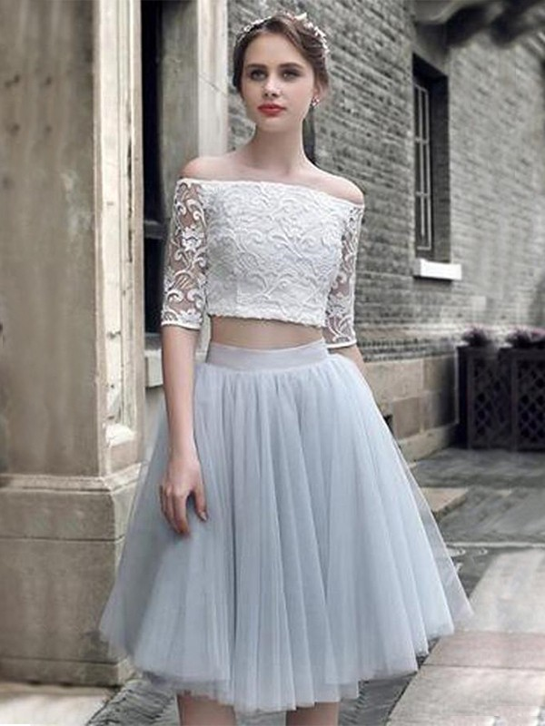 A-Line Tulle With Ruched Off-the-Shoulder 1/2 Sleeves Knee-Length Two Piece Dress