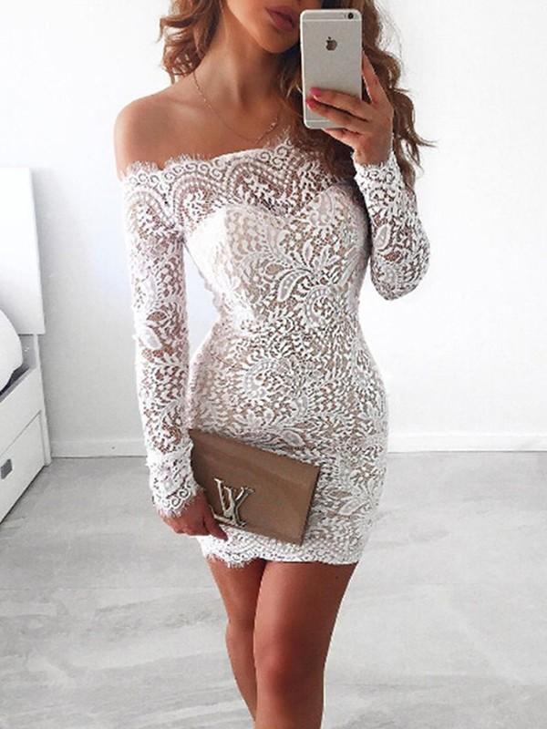 Sheath Long Sleeves Off-the-Shoulder Lace Short/Mini Dress